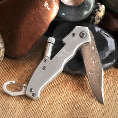 Engraved Pocket Knife with Flashlight by Beau-coup - Groomsmen Gifts