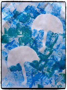 empreintes de parapluie, bricolage automne, météo, pluie, peinture enfant