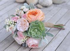 Silk Wedding Bouquet Bride Bouquet Peach and by Hollysflowershoppe