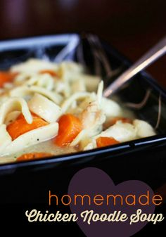 My mom's homemade chicken noodle soup is the best - hands down. #homemadechickennoodlesoup #chickennoodlesoup