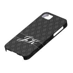 De zwarte Initialen van het Damast Barely There iPhone 5 Hoesje