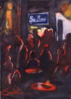 San Souci Bar, Ventura : Signed LE Art Print : Sandra Watercolors California #Impressionist Art Prints For Sale, Affordable Art, Watercolor Print, Impressionist, Watercolors, Giclee Print, Original Paintings, The Incredibles, California