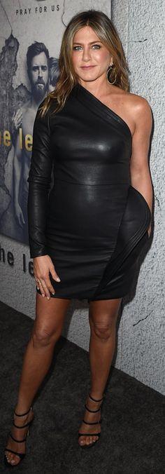 Jennifer Aniston in Dress – Brandon Maxwell  Shoes – Gianvito Rossi  Jewelry – Jennifer Meyer