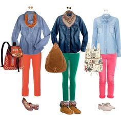 Basic denim shirts with fun pants and backpacks :)