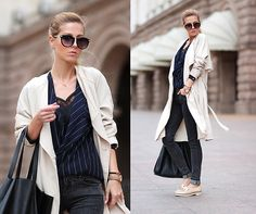 Sheinside Vertical Stripes Blouse, H&M Trenchcoat, Zara Patent Leather Moccasin, Bershka Bag, Choies Sunglasses With Metal Arrow, Stradivarius Lingerie Style Top