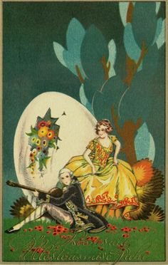 Vintage couple, easter card