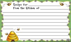 Printable recipe cards  : - D