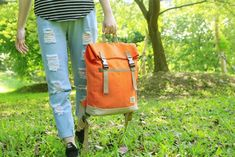 sail after Twill retro backpack / canvas - Orange Caramel