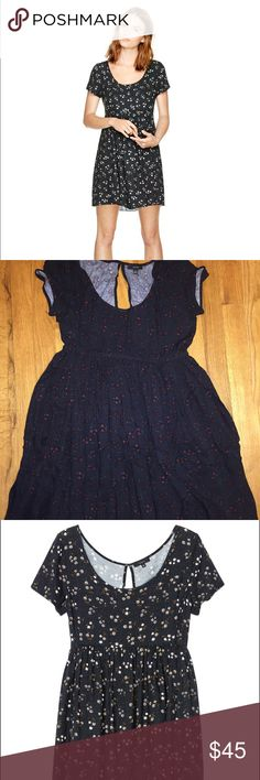 Aritizia - Talula Bayberry Dress in Black Floral This adorable black floral dress with subtle red flowers, short sleeves, and a keyhole back is extremely light and airy and comfortable to wear all year round. Worn once. Will be steamed for shipping. Aritzia Dresses Mini