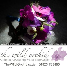 An elegant and sophisticated wired bouquet of cerise vanda orchids, purple gladioli pips, white phalanopsis orchids, white veronica and blue eryngium with a collar of red cordyline leaves.