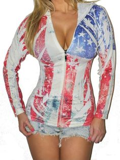 American USA Flag Distressed Seamless Festival Patriotic Hoodie Jacket O/S New #Jadedstylescom #KnitTop #Casual