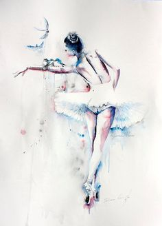 Colorful watercolor ballerina with the birds. Perfect art print for your wall art and home decoration. The item is printed on high quality