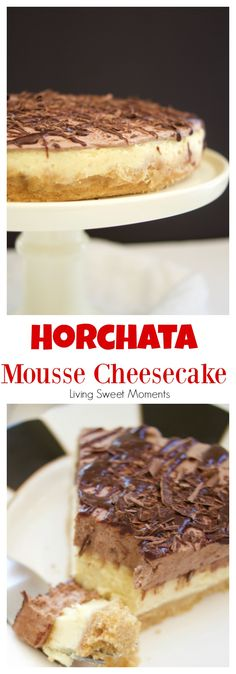 This Horchata Mousse Cheesecake recipe is easy to make, creamy and delicious. It has a Cookie crust, horchata cheesecake, horchata-choco mousse, & ganache. The perfect boozy dessert to serve at any party. More on livingsweetmoment. Homemade Horchata, Horchata Recipe, Cheesecake Mousse Recipe, Easy Cheesecake Recipes, Fun Desserts, Dessert Recipes, Cupcake Recipes, Cupcake Cakes, Cupcakes
