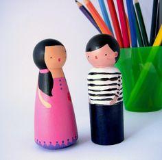 dinah .. wood peg doll girl children painted large