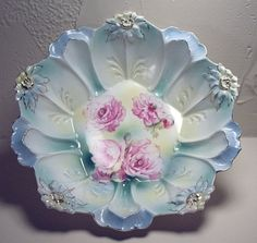 R. S. Prussia Bowl with red mark blown out flowers