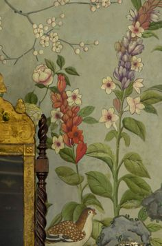 bedroom wallpaper at Winterthur (this looks exactly like the wallpaper in a Miss Marple episode!)
