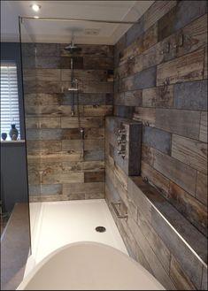 Good Modern Farmhouse Master Bathroom Remodel Ideas - Page 66 of 91 - adkins news Rustic Bathroom Shower, Wood Tile Shower, Wood Tile Bathroom Floor, Bathroom Tile Designs, Wooden Bathroom, Rustic Bathrooms, Dream Bathrooms, Amazing Bathrooms, Master Bathroom