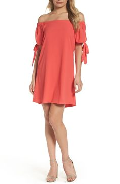Mary & Mabel Tie Sleeve Off the Shoulder Dress