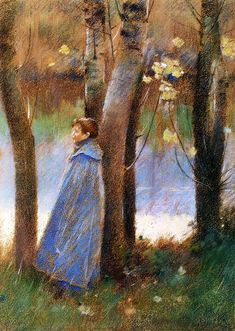 Theodore Robinson (American, 1852-1896), [Old Lyme Colony, Impressionism] Figure in a Landscape, 1887.