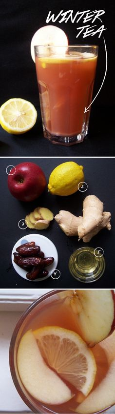 Winter Tea- pour 4.5 liters of water, 1c of sliced ginger, 1c dried dates, 4 sliced apples into lg pot & let simmer for 2 hours. Strain & serve hot, warm or on ice w/a bit of honey for the sweetness & a slice of lemon for the extra vitamin kick.  Said to smell amazing & put you at ease instantly!!!