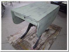 Refurbished (then antiqued!) drop-leaf table