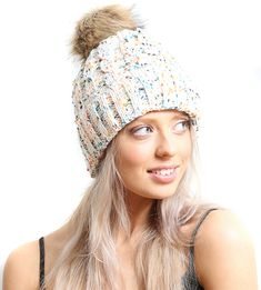 19045e09dc7 White Multi Cable Knit Beanie Hat With Faux Fur Pom Pom