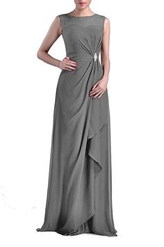 01cb3a80 MenaliaDress Sheer Neck Empire Draped Chiffon Bridesmaid Gowns Evening  Dresses M093LF Dark Gray US10 >>