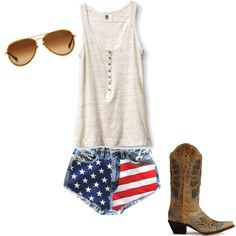 perfect for a country concert America jean shorts.if only they were a little longer! Rodeo Outfits, Cute Outfits, 4th Of July Outfits, Summer Outfits, Country Girls, Country Jam, Classy And Fabulous, Spring Summer Fashion, Passion For Fashion