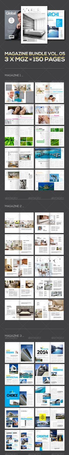 3 X Magazine Collection Mgz Bundle Vol 05 GraphicRiver Click Image Below Print TemplatesNewspaper Printing