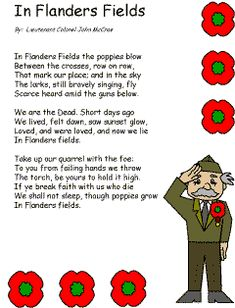 We're going to read and discuss this poem tomorrow (Veterans Day)