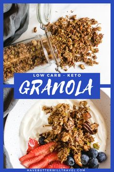 A delicious healthy keto granola recipe. Homemade grain free granola made easy using nuts, coconut, sweetener and spices. #ketogranola #ketocereal #lowcarbgranola #nutgranola #ketomuesli Ketogenic Recipes, Low Carb Recipes, Diet Recipes, Best Keto Breakfast, Keto Cereal, Low Carb Granola, Grain Free Granola, Low Carbohydrate Diet, No Sugar Foods