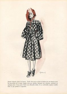 Jeanne Lafaurie 1943 Winter Coat Brénot Vintage Dress Patterns, Vintage Dresses, Jeanne Lafaurie, Magazine Mode, Illustrations, 1940s Fashion, Fashion Prints, Winter Coat, Dressmaking