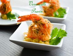 Vermicelli crusted prawns, a crispy fried prawns coated with vermicelli,green chilly and coriander.