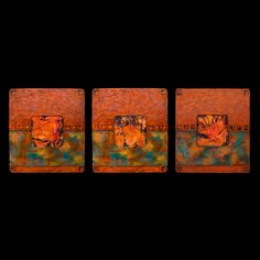 Earth and Fire Triptych Blue S by Kara Young: Fiber Wall Art available at www.artfulhome.com