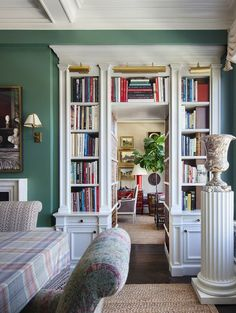 Alexa Hampton's yummy New York apartment with wonderful architectural dailing. Love the built-in bookcases
