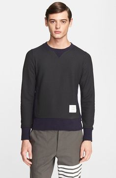 Thom+Browne+Textured+Crewneck+Sweater+available+at+#Nordstrom