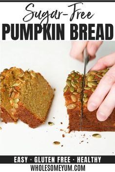 Low Carb Pumpkin Bread Recipe, Healthy Pumpkin Bread, Quick Bread Recipes, Sugar Free Recipes, Keto Bread, Pumpkin Recipes, Low Carb Recipes, Paleo Bread Recipe Easy, Sugar Free Bread