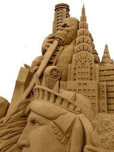 Sand sculptures, monkey business