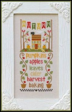 Seasonal Celebrations Autumn is the title of this cross stitch pattern from the Seasonal Celebrations series of Country Cottage Needleworks.