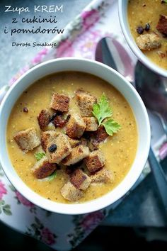 Zupa krem z cukinii i pomidorów Healthy Dishes, Healthy Recipes, Vegan Gains, Best Soup Recipes, Home Food, Special Recipes, I Love Food, Indian Food Recipes, Food Inspiration