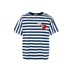 GUCCI Stripes T-Shirt With Patch (6.888.635 IDR) ❤ liked on Polyvore featuring men's fashion, men's clothing, men's shirts, men's t-shirts, multi, mens crew neck t shirts, gucci mens shirts, mens striped shirt, mens striped t shirt and gucci mens t shirt