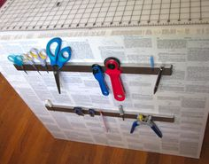 Organize Metallic Tools using IKEA Magnet Strips  This is a great workshop organization idea ... made even easier from our Swedish friends at IKEA. If it's metal, store it easily with magnetic strips!