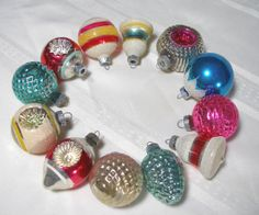 Assorted Vintage Shiny Brite Ornaments in Box