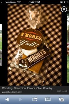 BBQ Wedding Reception, love this idea for favors. Place one at every seat. At the end of the night everyone can make their s'mores :)