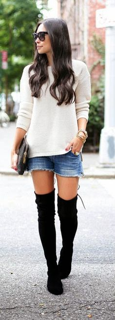 Daily New Fashion : Over the knee Boots with Denim Cut-Off Shorts and a Cream Sweater for Fall