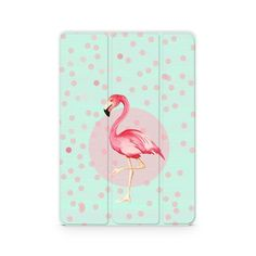 Case with mint pattern and pink flamingo illustration for inch
