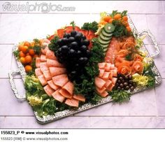 Cold cut platter garnished with salad and fruit Meat And Cheese Tray, Meat Trays, Meat Platter, Party Platters, Fruit Platters, Meat Fruit, Cold Cuts, Fruit Decorations, Picnic Ideas