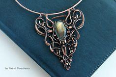Choker necklace with labradorite Mari copper by DorasAccessory