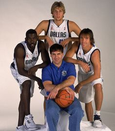 "Dirk Nowitzki, Steve Nash, Mark Cuban and Michael Finley in 2001. From SI's ""History of NBA Media Day"" Gallery"