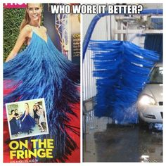 "On this episode of ""Who Wore it Better? Heidi Klum or this car wash? Funny Friday Memes, Friday Humor, Funny Animal Memes, Funny Memes, Hilarious, Stupid Memes, Stupid Funny, Jokes, Really Funny"